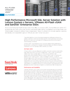 High Performance SQL Server Solution With Lenovo Servers, Vmware vSAN and Sandisk Enterprise SSDs